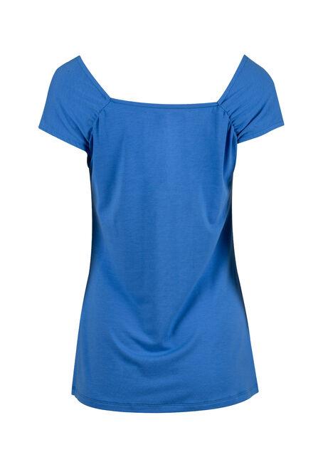 Women's Ruched V-neck Tee, ISLAND BLUE, hi-res