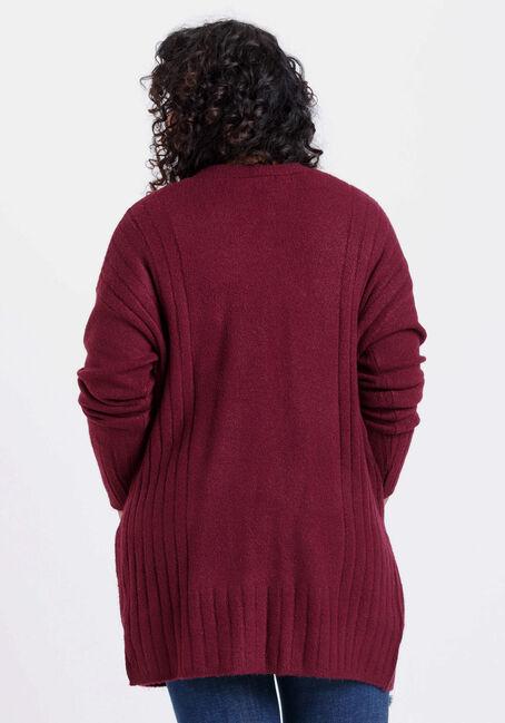 Women's Ribbed Open Cardigan, SANGRIA, hi-res