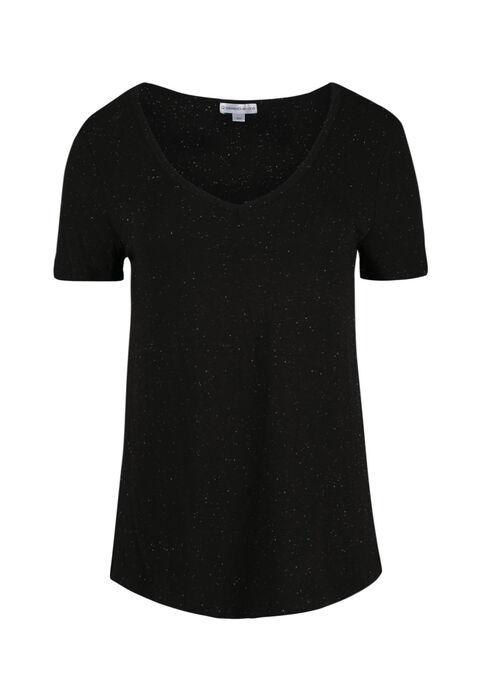 Women's Speckle V-neck Tee, BLACK, hi-res