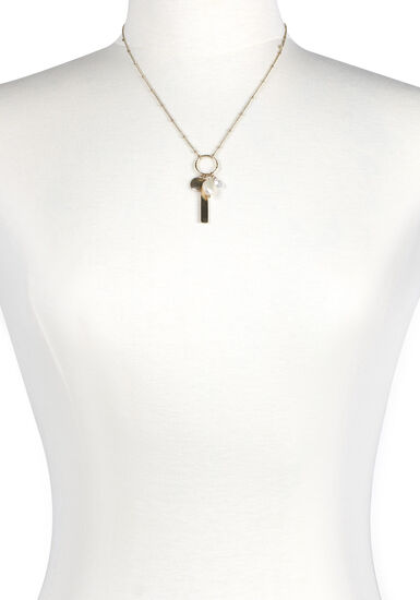 Women's Charms on Ring Necklace, GOLD, hi-res