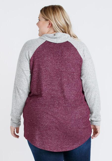 Women's Colour Block Cowl Neck Tunic, DARK PLUM, hi-res