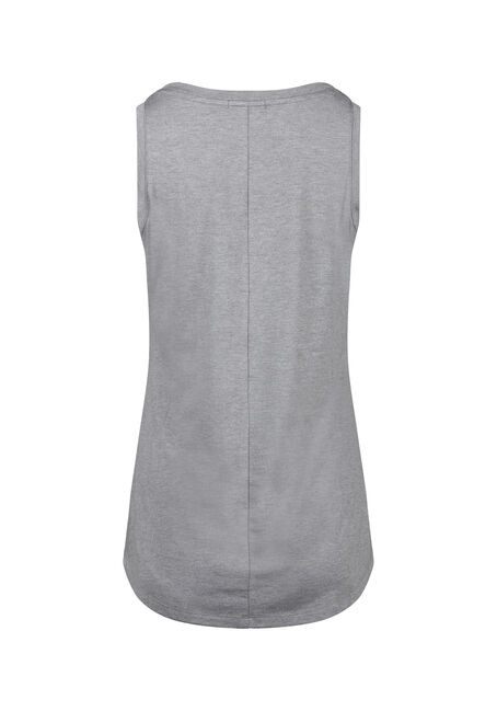 Women's Relaxed Fit V-Neck Tank, HEATHER GREY, hi-res