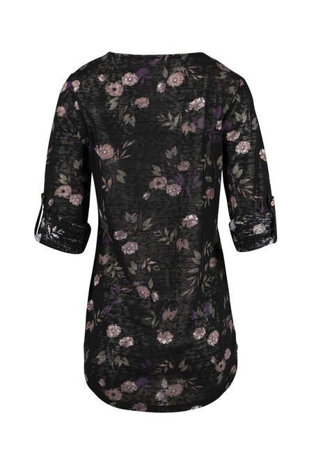 Ladies' Floral Tunic Tee, BLACK, hi-res