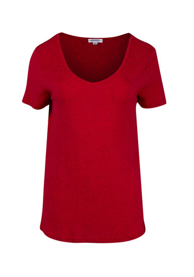 Women's Speckle V-neck Tee, RED SEA, hi-res