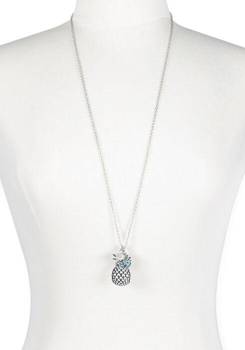 Women's Pineapple Charm Necklace, RHODIUM, hi-res