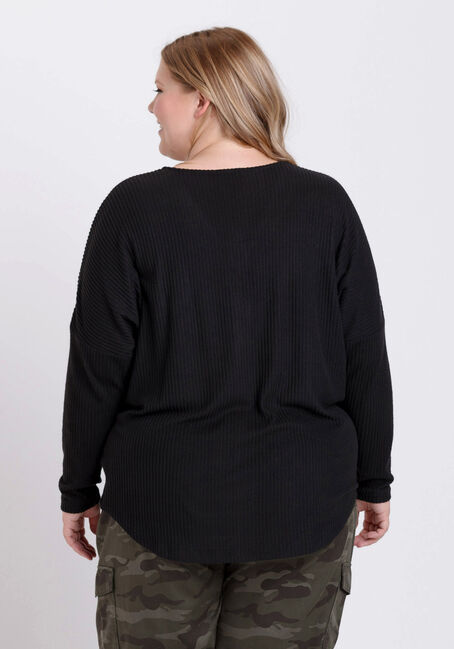 Women's Button Front Ribbed Top, BLACK, hi-res