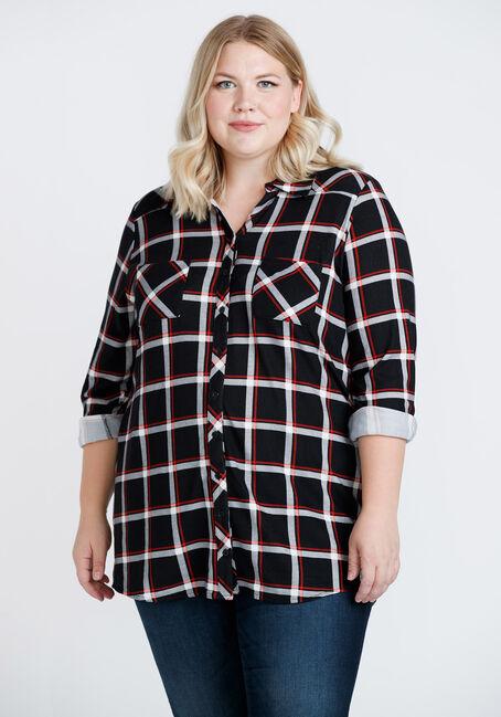Women's Brushed Knit Plaid Tunic Shirt