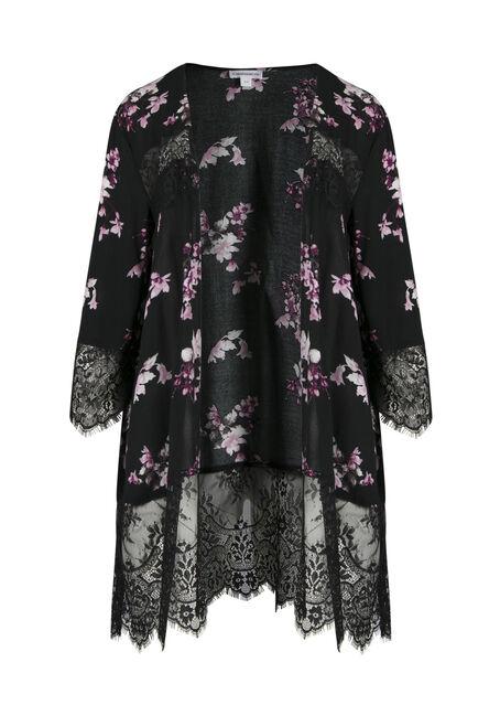 Ladies' Lace Insert Floral Kimono