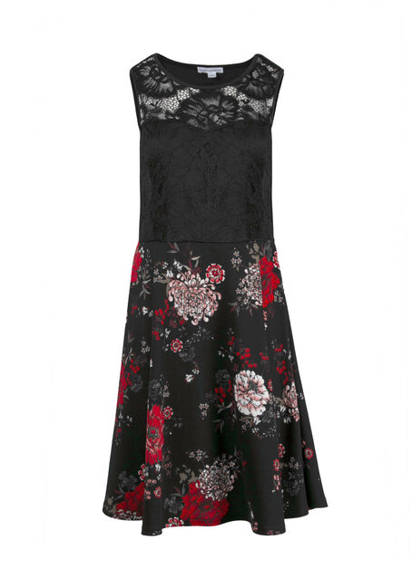 Women's Dark Florals Skater Dress