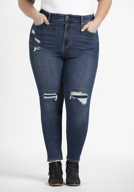 Women's Plus Rip & Repair High Rise Skinny Jeans