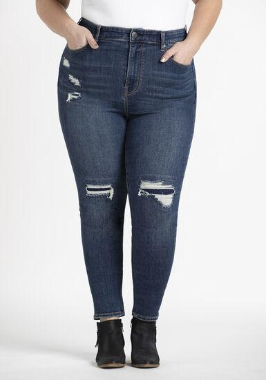 Women's Plus Rip & Repair High Rise Skinny Jeans, DARK WASH, hi-res