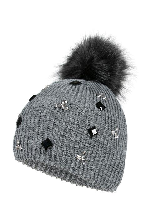 Ladies' Rhinestone Pom Pom Hat, GREY, hi-res