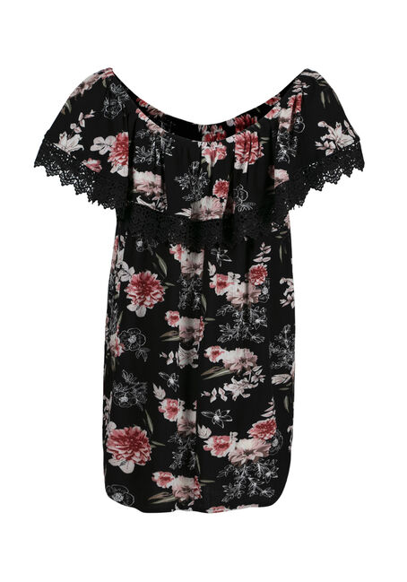 Women's Floral Bardot Top, BLACK, hi-res