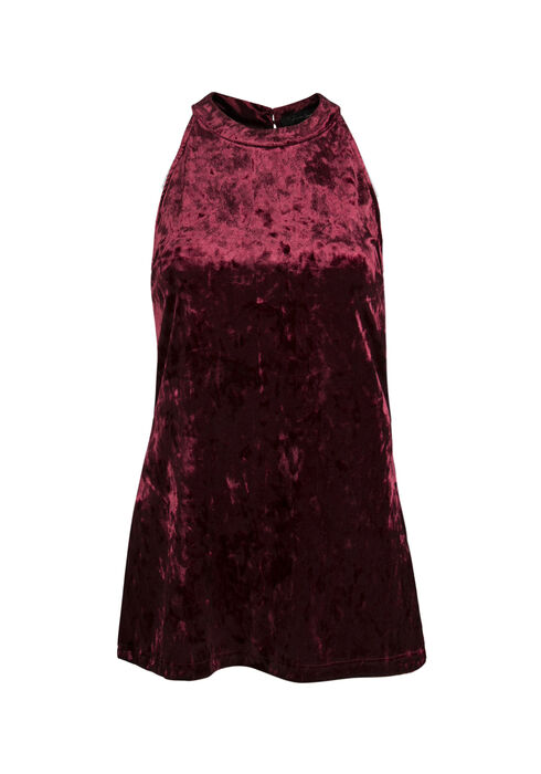Ladies' Velvet Mock Neck Tank, WINE, hi-res