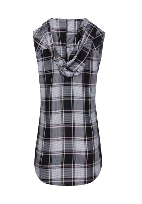 Women's Sleeveless Hooded Plaid Shirt, BLACK, hi-res
