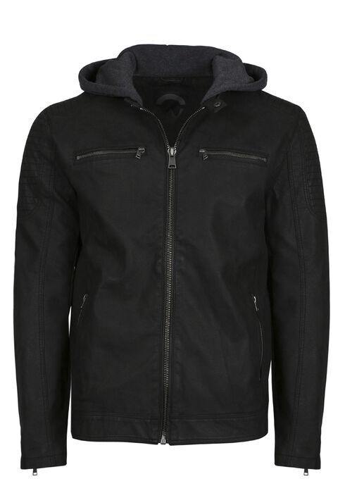 Men's Faux Leather Jacket, BLACK, hi-res