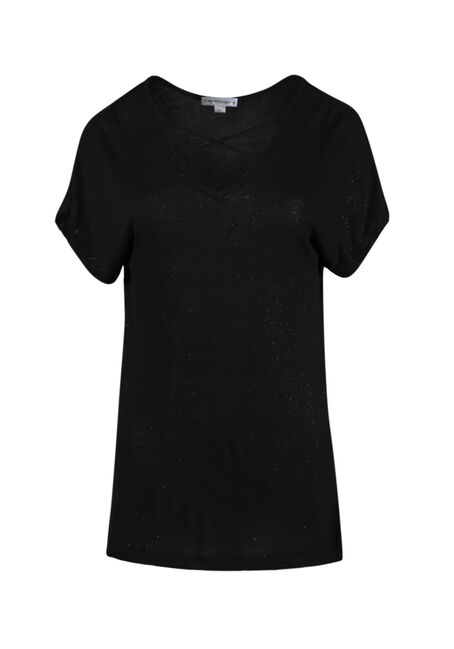 Ladies' Cage Neck Shimmer Tee