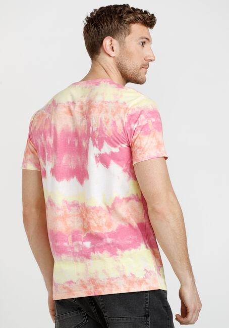 Men's Multicolour Tie Dye Tee, MELON, hi-res
