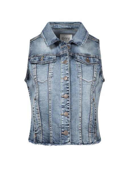 Women's Cropped Vintage Frayed Denim Vest
