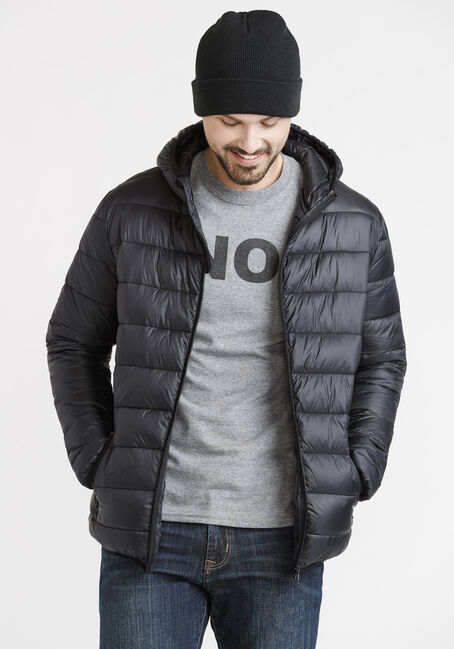 Men's Packable Puffer, BLACK, hi-res
