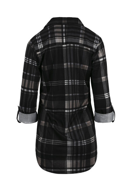 Ladies' Relaxed Fit Knit Plaid Shirt, BLACK, hi-res