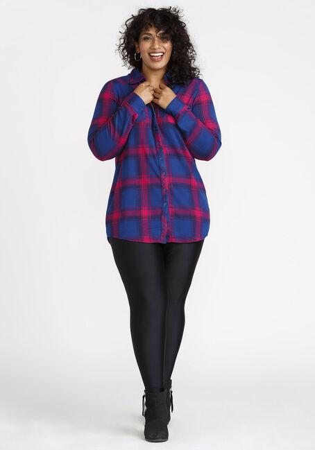 Women's Knit Plaid Tunic Shirt, BRIGHT PINK, hi-res