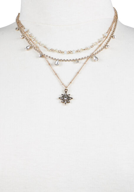 Ladies' Layered Necklace, GOLD, hi-res