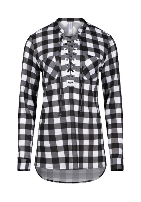 Women's Lace Up Knit Plaid Tunic Shirt