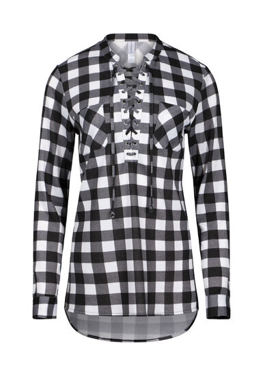 Women's Lace Up Knit Plaid Tunic Shirt, BLACK, hi-res