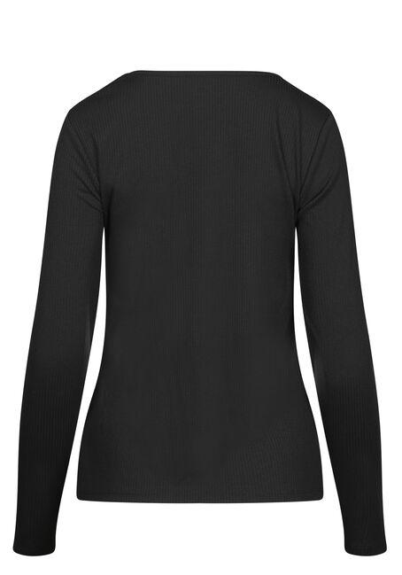 Women's Longsleeve Rib Knit Tee, BLACK, hi-res