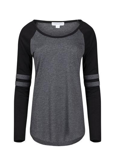 Women's Football Stripe Tee, CHARCOAL/BLK, hi-res
