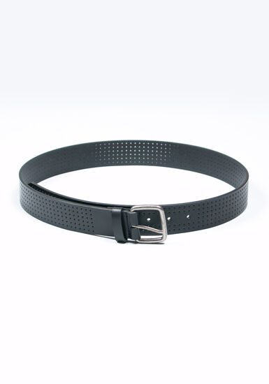 Men's Perforated Belt, BLACK, hi-res