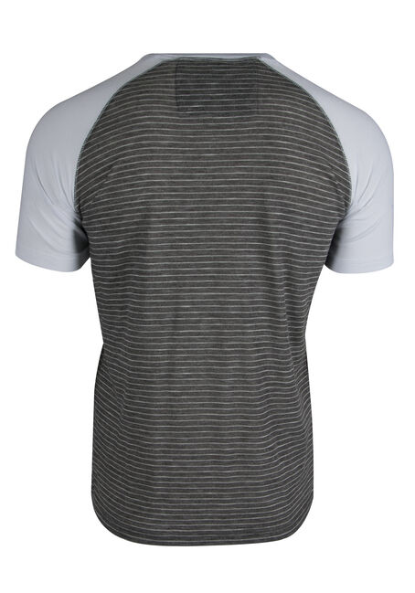 Men's Striped Henley Tee, CHARCOAL, hi-res
