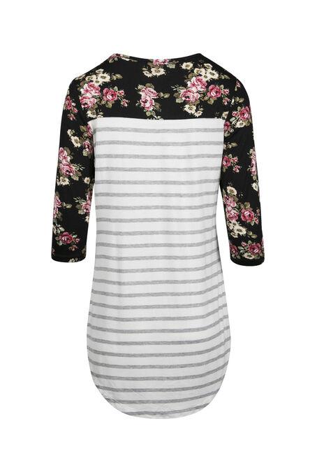 Ladies' Floral Stripe Top, WHITE, hi-res