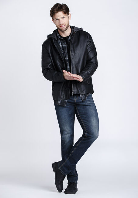 Men's Hooded Moto Jacket, BLACK, hi-res