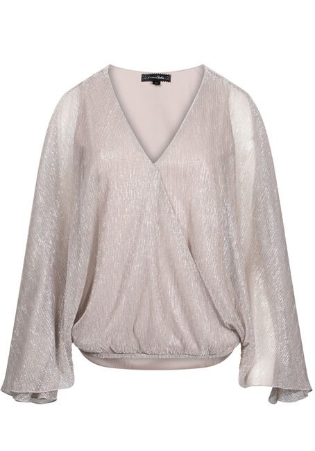 Women's Angel Sleeve Shimmer Wrap Top