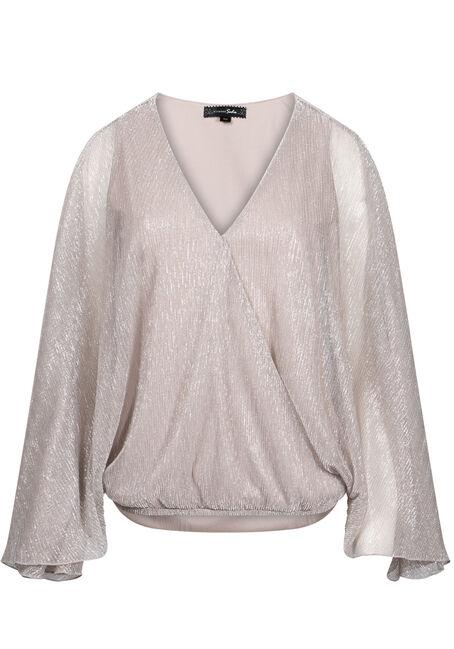 Women's Angel Sleeve Shimmer Wrap Top