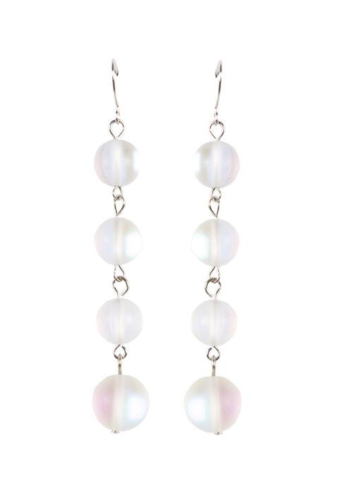 Ladies' Linked Bead Earrings, WHITE, hi-res