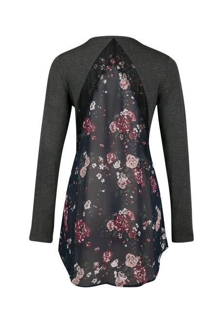 Ladies' Floral Top, CHARCOAL, hi-res