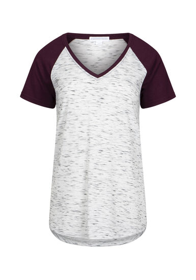 Women's V-Neck Space Dye Tee, BURGUNDY, hi-res