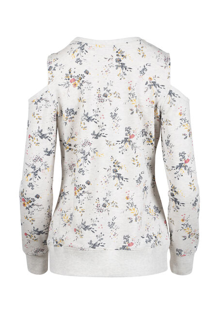Women's Floral Blossom Cold Shoulder Fleece, HEATHER GREY, hi-res