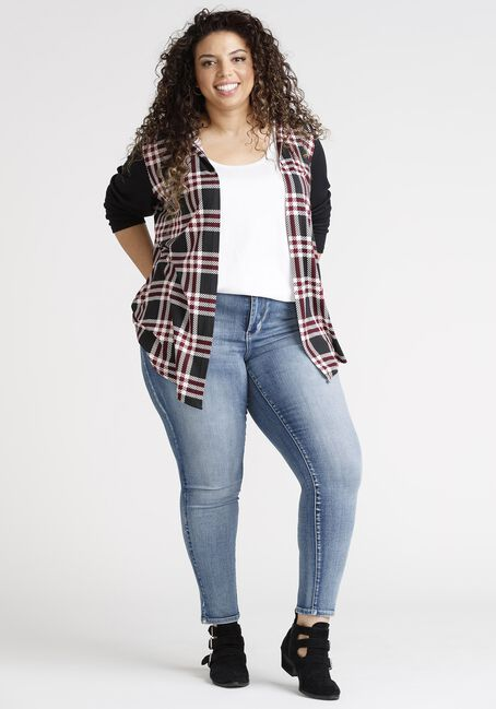 Women's Plaid Wrap With Hacci Sleeves