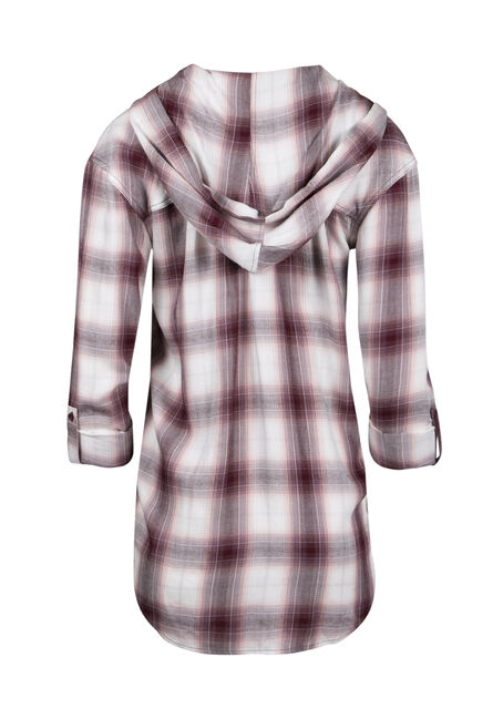Ladies' Hooded Plaid Boyfriend Shirt, BURGUNDY, hi-res