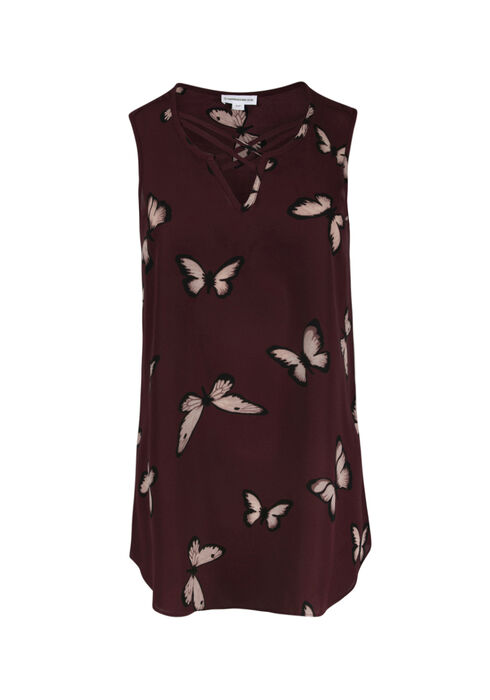 Women's Cage Neck Butterfly Tank, BURGUNDY, hi-res