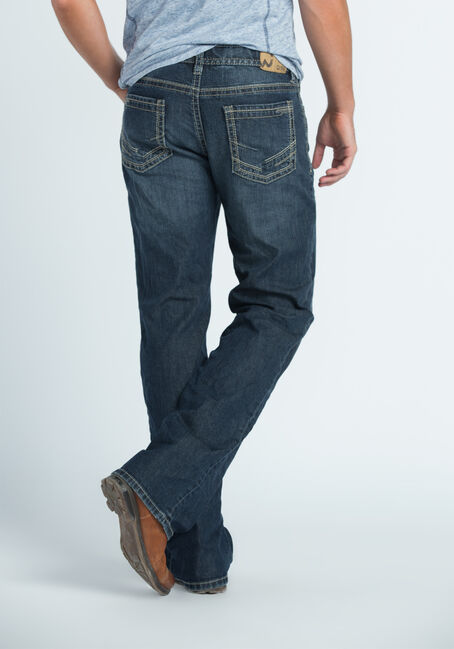 Men's Straight Leg Medium Dark Jeans, MEDIUM VINTAGE WASH, hi-res