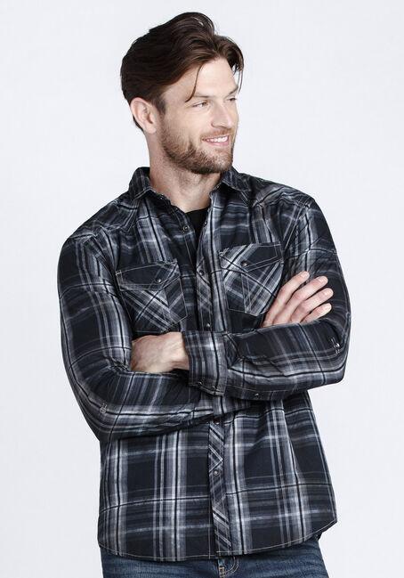 Men's Washed Plaid Shirt, BLACK, hi-res