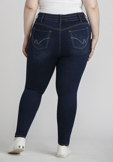 Women's Plus Size 3-Button Skinny Jeans, DARK WASH, hi-res