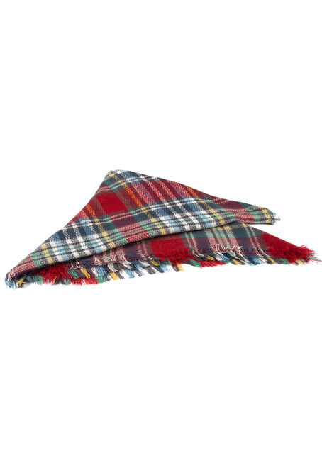 Women's Plaid Blanket Scarf, RED, hi-res