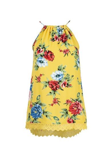 Women's Floral Halter Crochet Trim Tank, YELLOW, hi-res