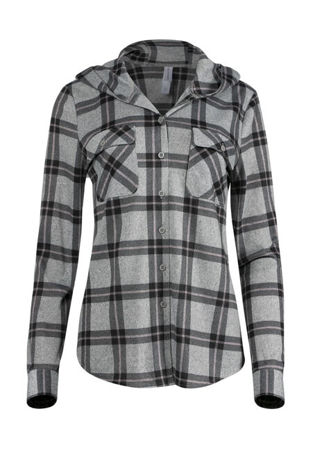 Ladies' Hooded Knit Plaid Shirt
